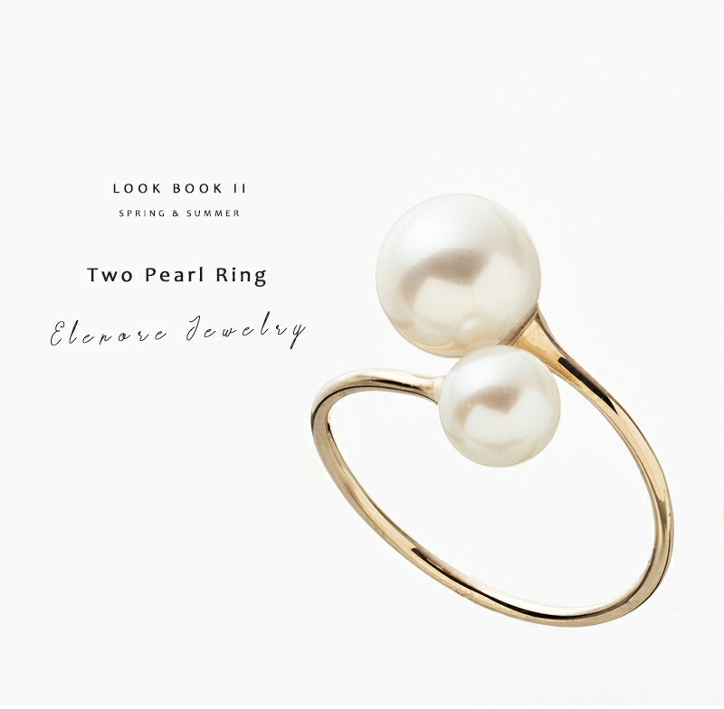 10金トゥーパールリング/Elenore Jewelry