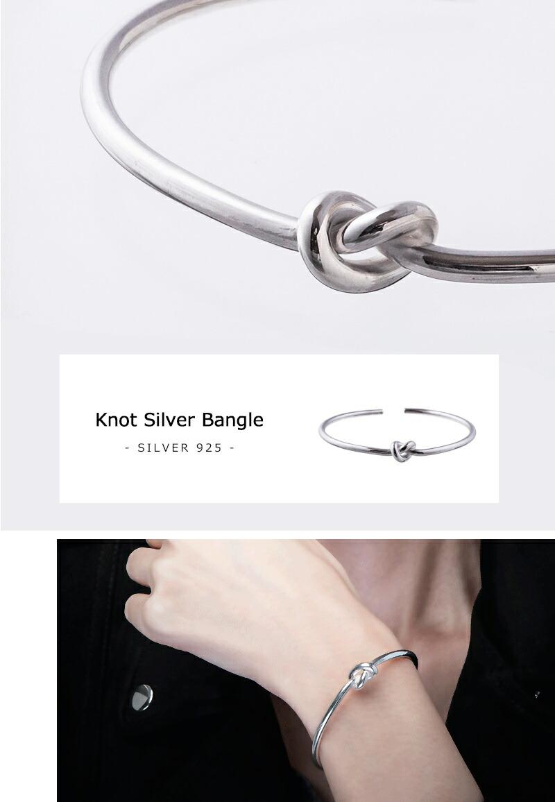 ノットシルバーバングル/Elenore Jewelry