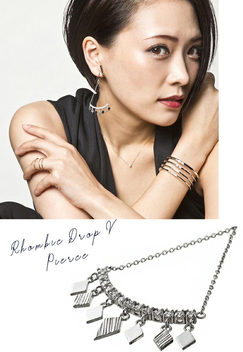 ロンビックドロップVピアス/Elenore Jewelry