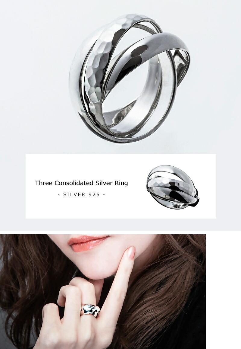 3連結シルバーリング/Elenore Jewelry