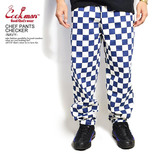 COOKMAN CHEF PANTS CHECKER -NAVY-