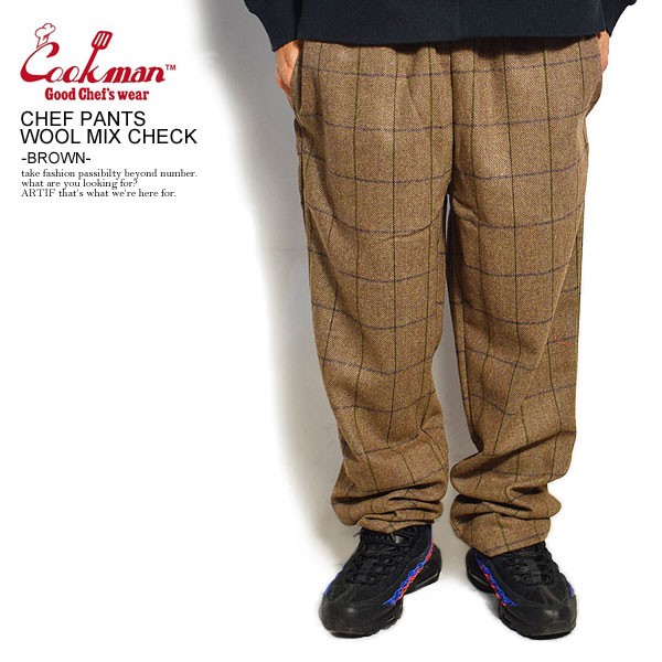 COOKMAN CHEF PANTS WOOL MIX CHECK -BROWN-
