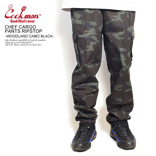 COOKMAN CHEF CARGO PANTS RIPSTOP -WOODLAND CAMO BLACK-