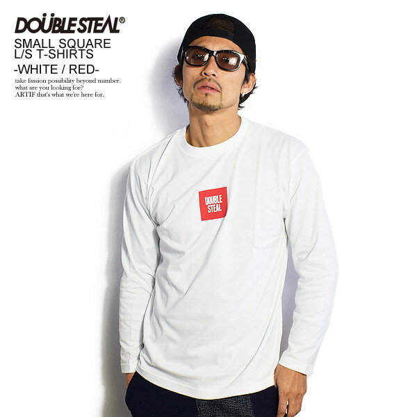 ダブルスティール DOUBLE STEAL SMALL SQUARE L/S TEE -WHITE-