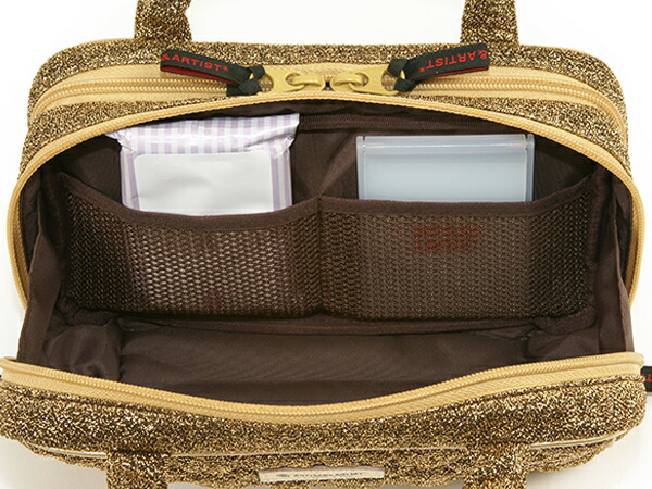 ビューラーポケット付きポーチ<Shiny Golden Quilt (シャイニー・ゴールデン・キルト)>