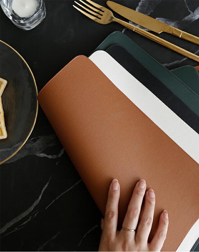 レザー ランチョンマット プレイスマット cm×cm ホワイト ブラック ブラウン グリーン 白 黒 茶 緑 合皮【art of black】