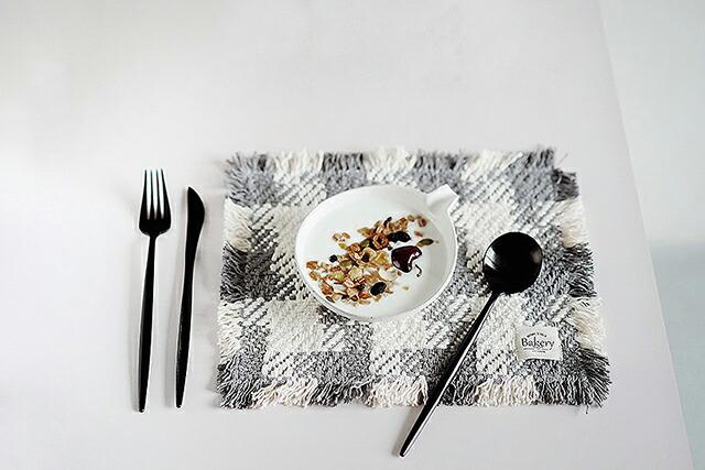 ランチョンマット コースターセット フリンジ チェック 【art of black】 テーブルウェア