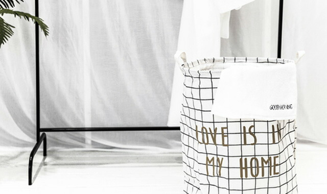 北欧柄 ストレージバスケット おもちゃ入れ 収納バスケット ランドリーバッグ トートバッグ 折り畳み【art of black】インテリア モノトーン キャンバス地 収納BOX おもちゃ箱 収納 収納箱 ファブリック 洗濯物入れ