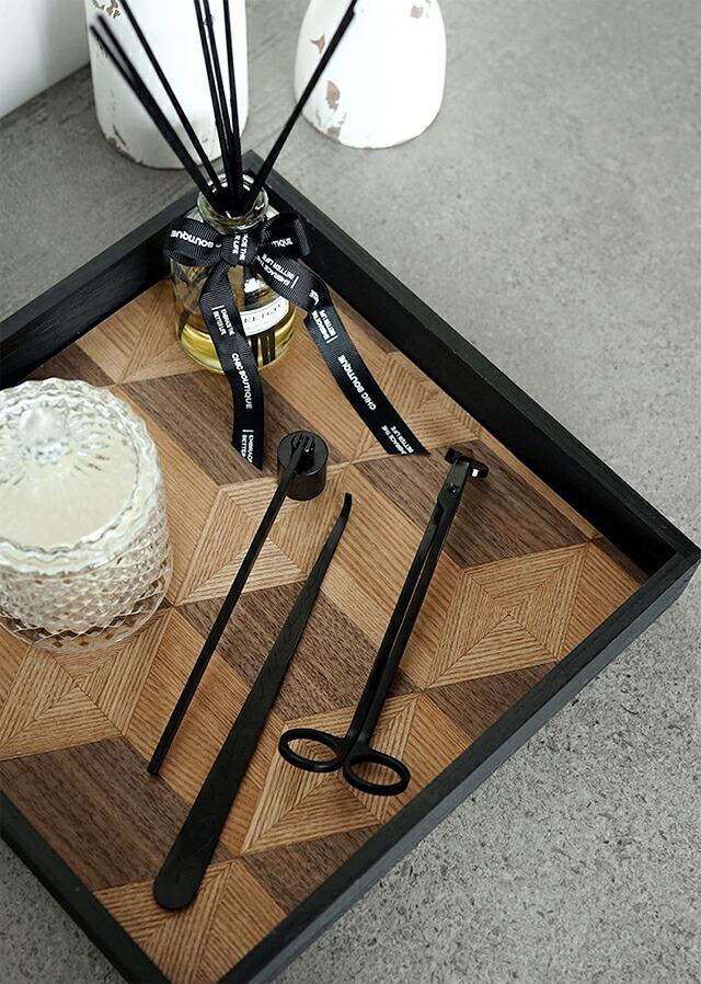 スクエア木製プレートトレイ大モザイクホワイトブラックウッド29.5cm×高さ5cmディスプレイ白黒天然木【artofblack】