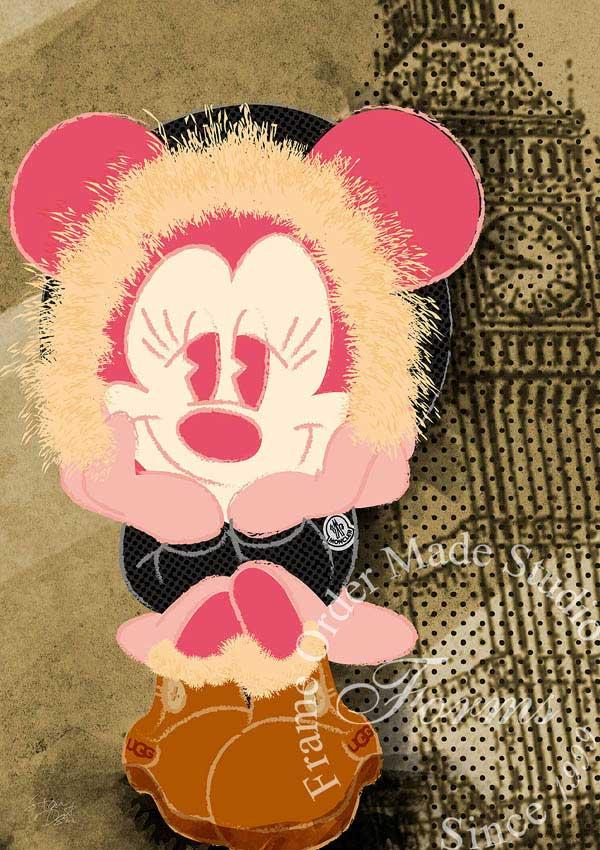 【ポップアート】 ディズニー×ブランドオマージュアート/ 【絵画インテリア】 ポスター 【オマージュ】 【パロディ】 スターデザイン 「ミッキーマウス×モンクレール/UGG」 【ディズニー】 【インテリア】 【モンクレール】