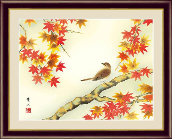 「紅葉に小鳥」