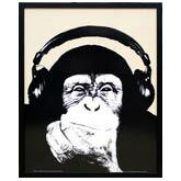 インテリアアート「ヘッドホンと猿」