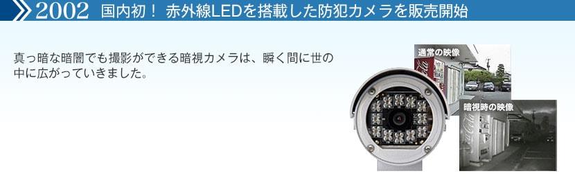 国内初!赤外線LEDを搭載した防犯カメラを販売開始