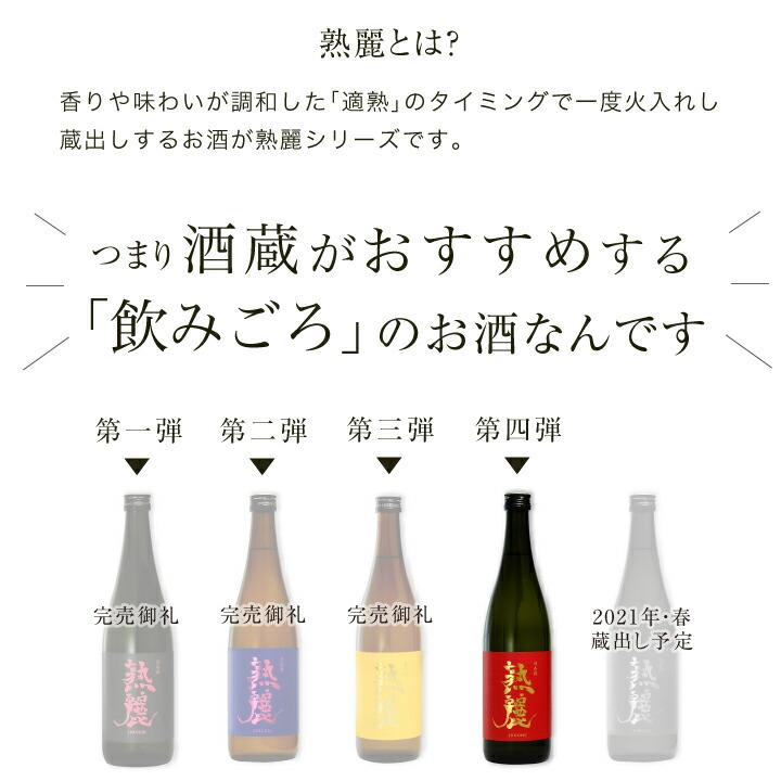 熟麗とは、低温でじっくり熟成し酒蔵のおすすめの時期に蔵出しする限定酒