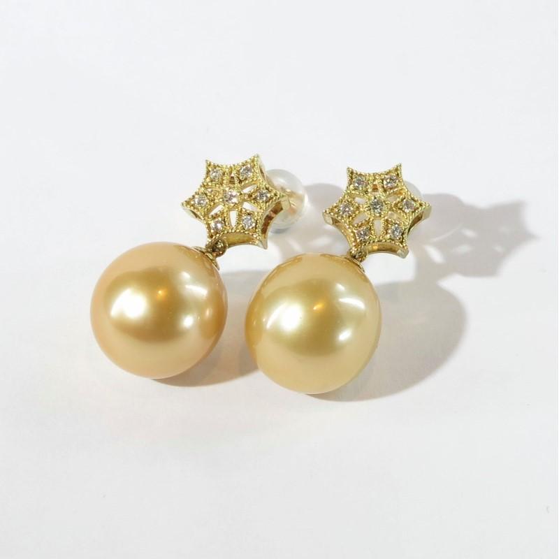 真珠 ピアス ダイヤモンド K18 南洋ゴールド真珠 12.1mm 0.14ct