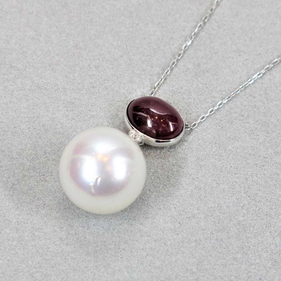 白蝶真珠 ルビー ダイヤモンド ネックレス