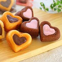 苺・チョコのダブルハートケーキ