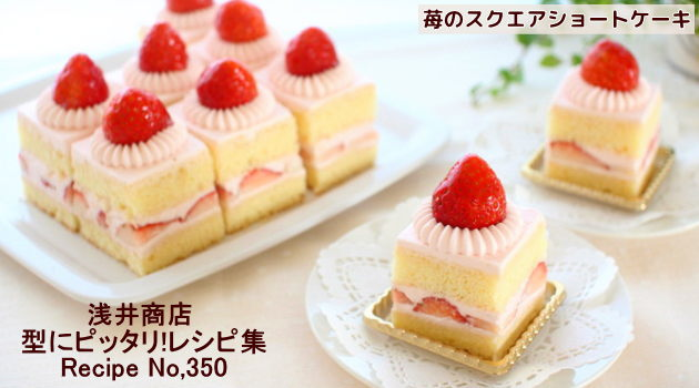 真鍮ダブル口金 へそ高で作る苺のスクエアショートケーキ