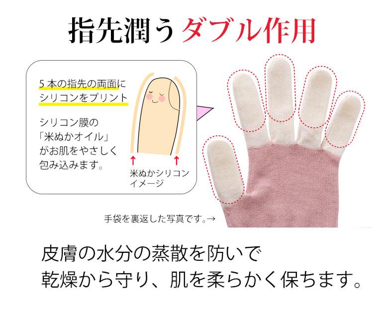 米ぬかシリコンおやすみ手袋は、指先潤うダブル処方