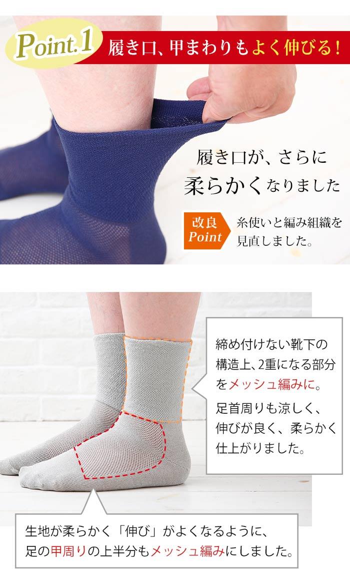 ポイント1。メッシュ編みにする事で、さらに柔らかく、よく伸びる「締め付けない靴下」