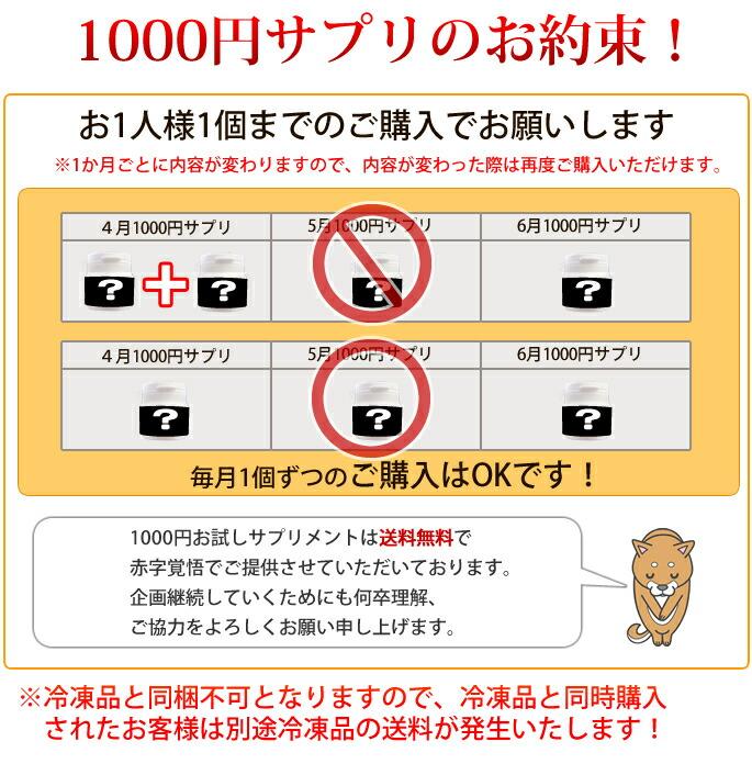 1000円サプリのお約束!