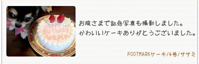 FOOTMARKケーキ 4号ささみと記念撮影