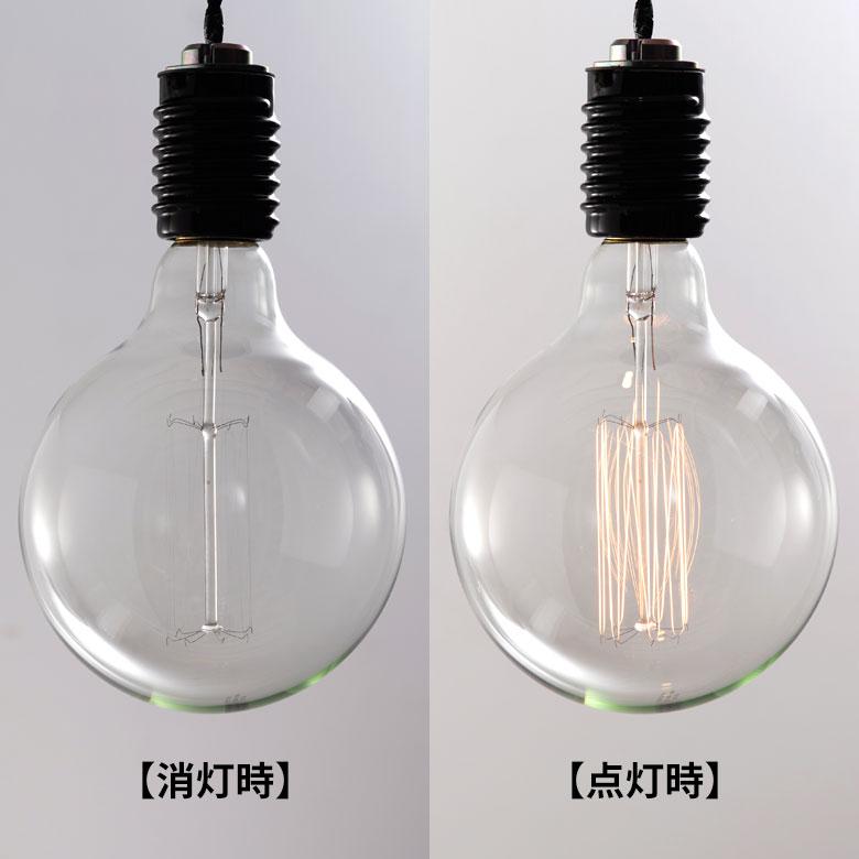Incandescent electric lamp nostalgic lamp Edison type round shape electric  bulb color 12.5cm in diameter E26 clear [94612]