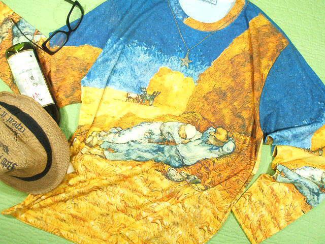 長袖Tシャツ ロンT ゴッホのTシャツ 絵画Tシャツ ゴッホ昼寝 アートTシャツ 名画Tシャツ
