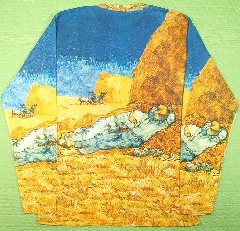 長袖Tシャツ ゴッホの昼寝 ロンT ゴッホのTシャツ アートTシャツ 印象派絵画 名画Tシャツ 仕事の間の休息(ミレーを模して)