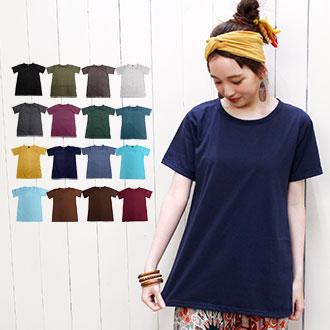 ▼長め丈でゆるっと着れる使えるシンプルTシャツ♪