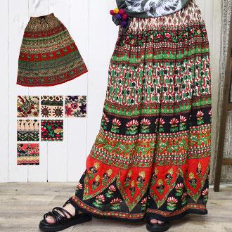 定番アジアンモチーフの楽ちんスカート