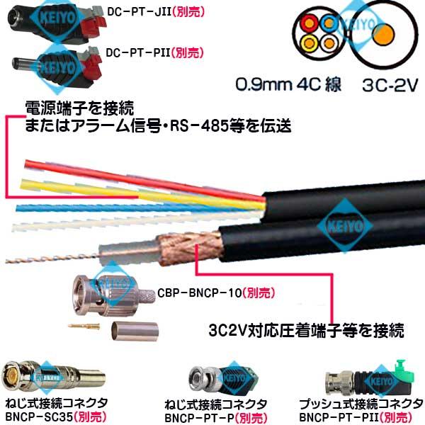 3C2V_0.9mm4芯線付-200M(黒色)【3C2V・0.9mm4芯線付200M同軸ケーブル】