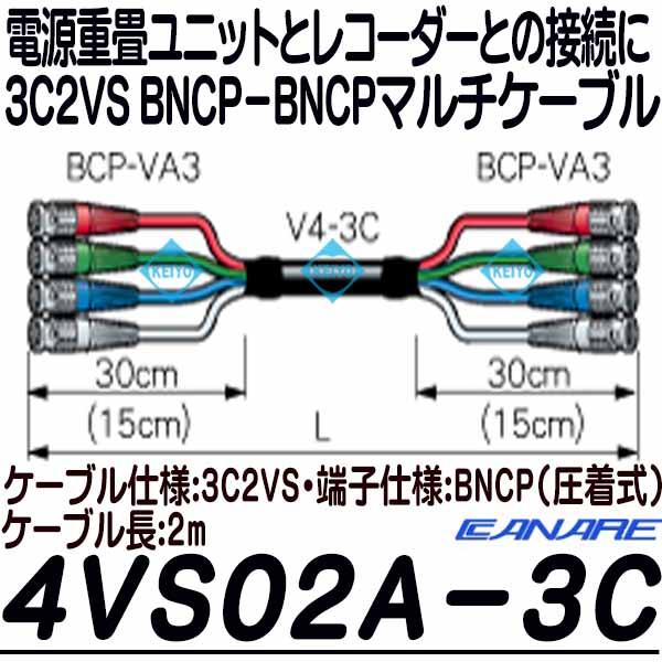 4VS02A-3C【CANARE製3C2VS仕上げBNCP仕様2mマルチケーブル】
