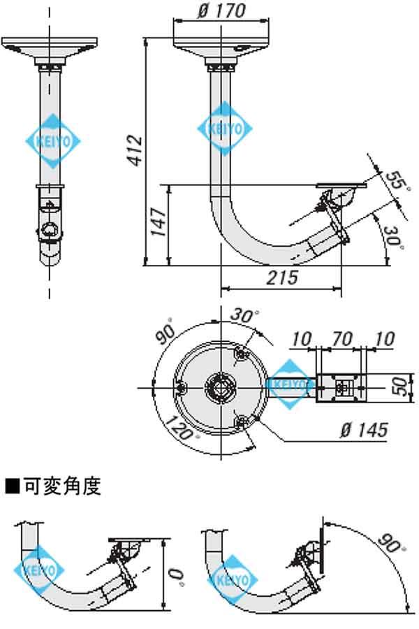 THC-B3(WCM5A)【アルミダイキャスト製ハウジング用天吊取付ブラケット】