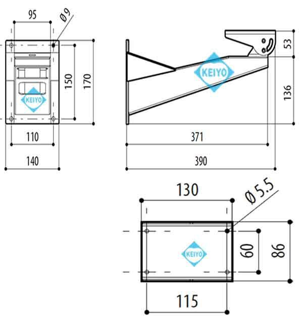 THW-NX-45(NXWBS1)【ステンレススチール製壁面取付用ブラケット】