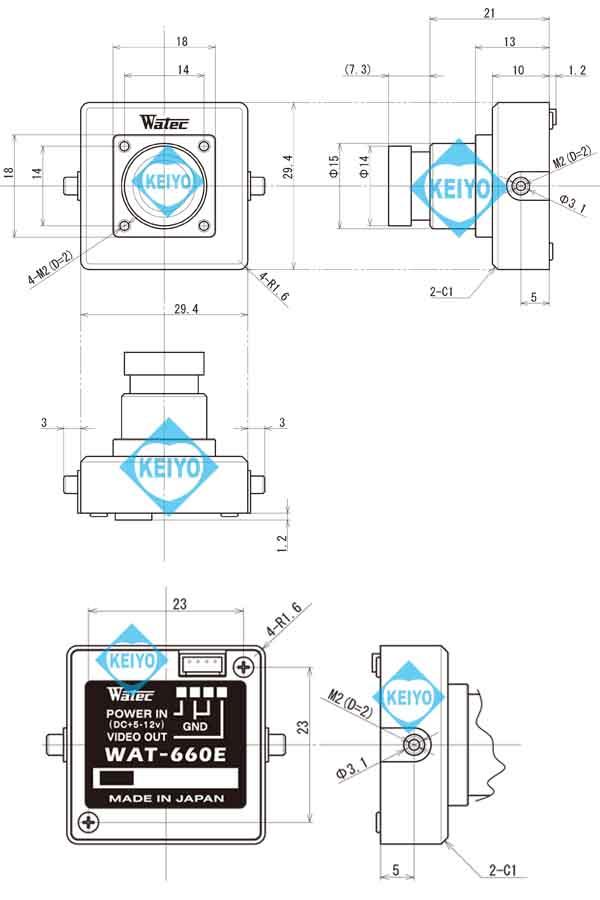 WAT-660E(G3.8)【超小型サイズ高感度モノクロ防犯カメラ】