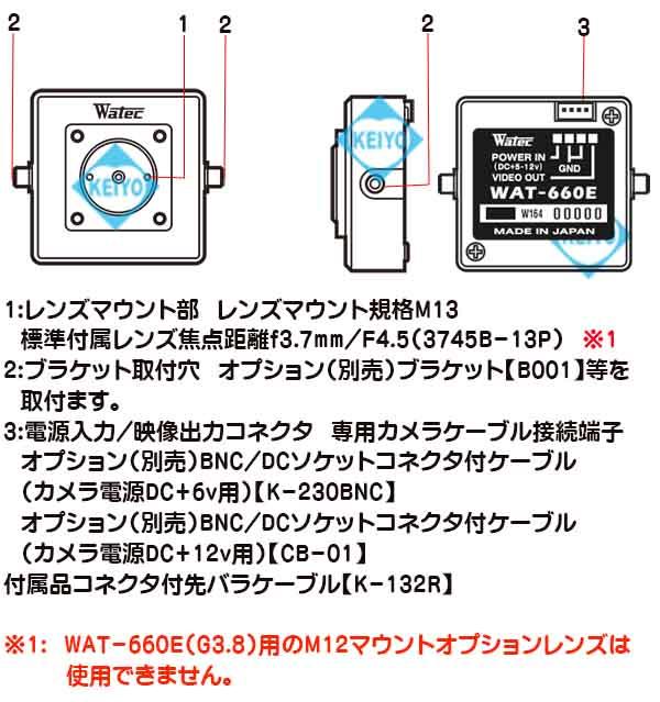 WAT-660E(P3.7)【超小型サイズ高感度モノクロ防犯カメラ】