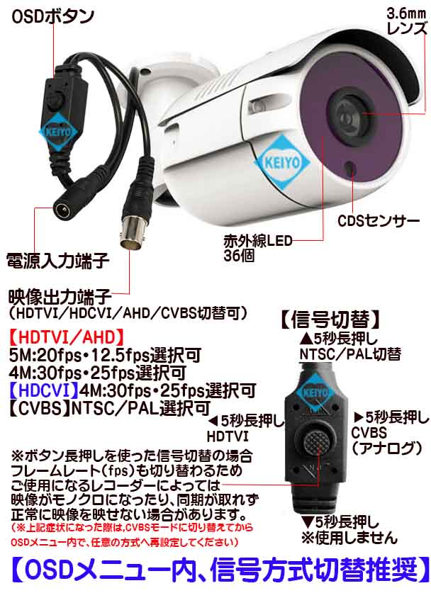 ASC-HB2560B【513万画素ハイブリッド方式屋外防雨型赤外線付バレット型カメラ】