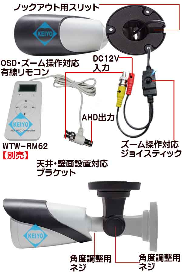WTW-AR188HR【220万画素屋外設置対応赤外線搭載電動ズームバレット型カメラ】