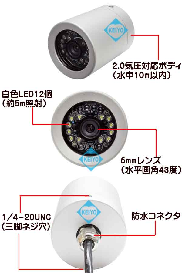 WTW-WA350F【2.0気圧防水対応白色LED搭載50mケーブル付カメラセット】