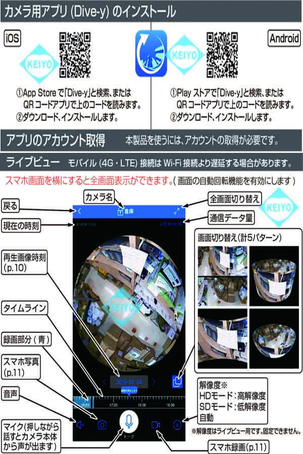 GS-CG360DTK(Dive-yミニシーリング360)【引っ掛けシーリング用360度対応Wi-Fiカメラ】
