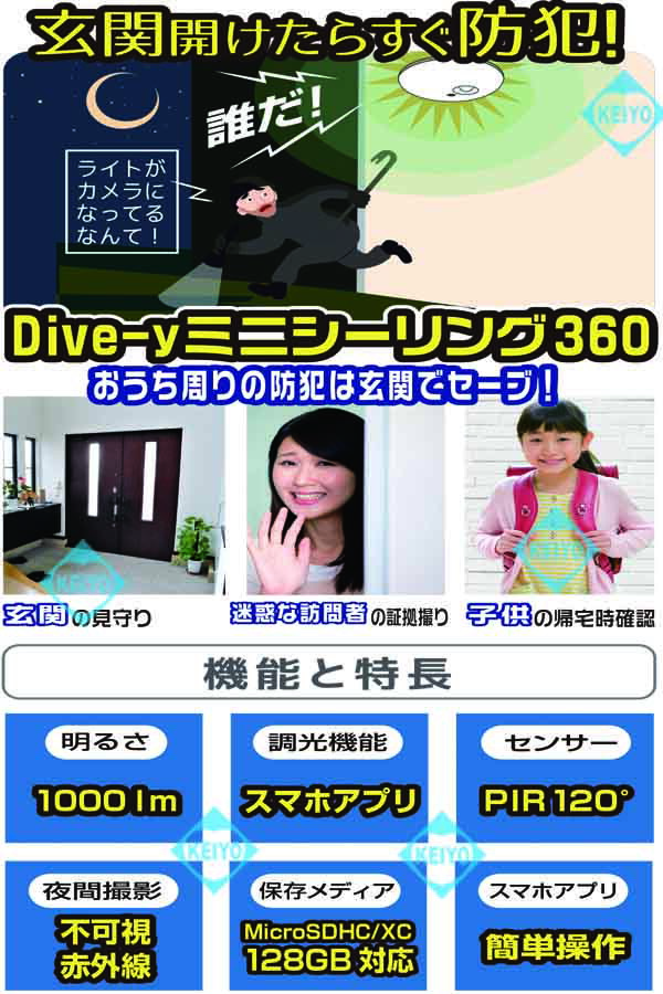 GS-CG360DTK(Dive-yミニシーリング360)【360度全方位撮影対応Wi-Fiネットワークカメラ】