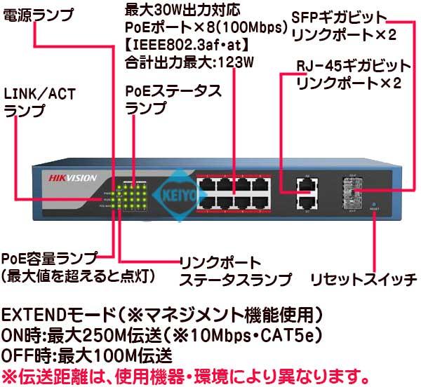 DS-3E1310P-E【HikVision製PoE+対応ギガビットリンクポート付8ポートマネジメントスイッチ】