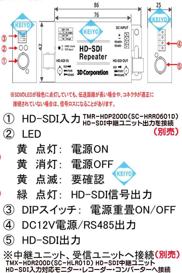 TMX-HDR200D(SC-HLR01D)【HD-SDI信号用映像/RS-485/電源対応リピーター】