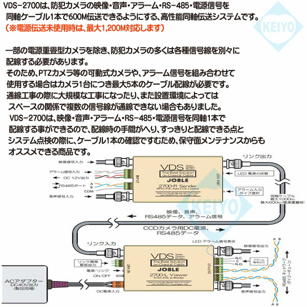 VDS-2700【1系統映像/音声/アラーム/RS-485/電源信号伝送ユニット】