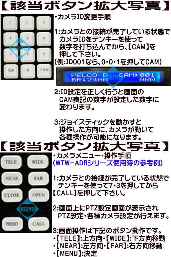 WTW-CNT28【RS-485対応PTZカメラコントローラー】