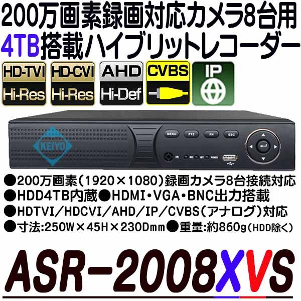 ASR-2008XVS(4TB)【AHD/HDCVI/HDTVI/IP/CVBS対応フルハイビジョン録画4TB搭載レコーダー】