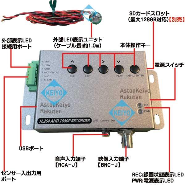 ASR-AHD2000WP2【屋外設置対応外部表示LED付AHD・CVBS入力対応カメラ2台用フルHD録画システム】