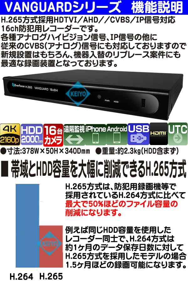 VANGUARD-8X4H(2TB)【EverFoucs製H.265方式マルチフォーマット対応16台用録画機VANGUARD-16X8H(2TB)【EverFoucs製H.265方式マルチフォーマット対応16台用録画機】