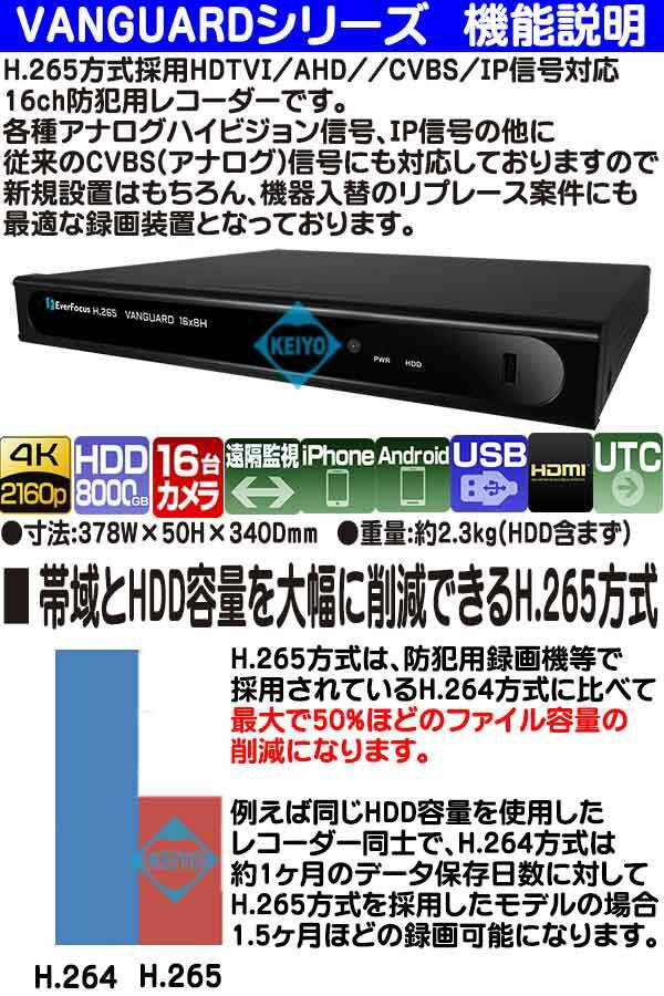 VANGUARD-8X4H(4TB)【EverFoucs製H.265方式マルチフォーマット対応16台用録画機VANGUARD-16X8H(8TB)【EverFoucs製H.265方式マルチフォーマット対応16台用録画機】